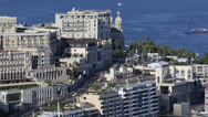 Stock Video Footage of Aerial View Monaco Monte Carlo Skyline Cityscape, Road Car Traffic Water Sport