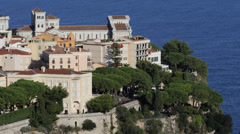 Aerial View Monaco-Ville Cathedrale de Monaco Saint Nicholas Cathedral Sunny Day Stock Footage