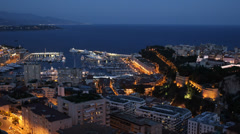 Illuminated Dusk Night Lights Monaco Skyline Icon Monte Carlo Establishing Shot Stock Footage