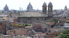 Establishing Shot Aerial View Rome Slyline Panoramic Cityscape Church Roof House Stock Footage
