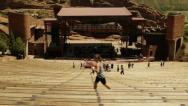 Stock Video Footage of High angle wide shot of Redrocks ampitheatre
