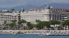 Cannes Skyline Famous Carlton Hotel Intercontinental Idyllic Coastline blue sky Stock Footage