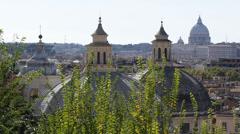 Horizon Panoramic View Rome Skyline Capital Italy St. Peter's Basilica Vatican Stock Footage