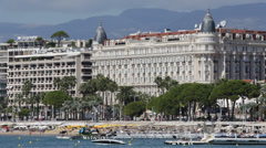 Cannes Croisette Luxury Hotels French Riviera Cote d'Azur Carlton Hotel blue sky Stock Footage