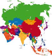 Colorful Asia map - stock illustration