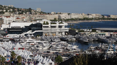 Panoramic view of Le Suquet The Old Town and Port Le Vieux of Cannes France day Stock Footage