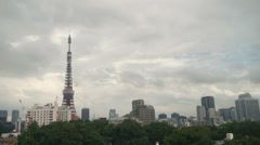 Timelapse Tokyo Tower - Fog to Sun Stock Footage