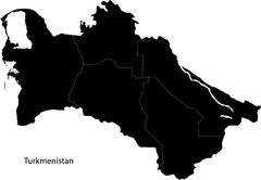 Black Turkmenistan map - stock illustration