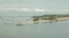 Brazilian tourism on an Amazon beach in Santarem Stock Footage
