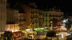 Illuminated Aerial View of Le Suquet Old Town French Riviera Cannes France night Stock Footage