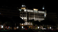 Illuminated Carlton Hotel Cannes Croisette French Riviera Cote d'Azur Night - stock footage