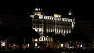 Stock Video Footage of Illuminated Carlton Hotel Cannes Croisette French Riviera Cote d'Azur Night
