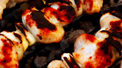 Chicken shish kebab cooked on barbecue Stock Footage
