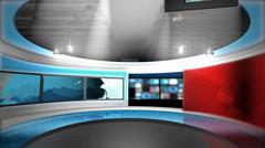 News Studio (W ALPHA) Green Screen & Chroma Key Background - stock footage