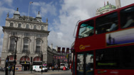 Piccadilly Circus London United Kingdom UK Double Decker Bus Passing Traffic Day Stock Footage