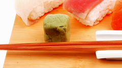 Japanese traditional cuisine - Different Types of Nigiri Sushi Stock Footage