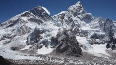 Mount Everest and Mt Nuptse from Kala Patthar, Khumbu Region, Nepal - stock footage