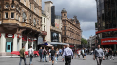 Centre London Cinema Shopping Street Leicester Square Rush Hour London People Stock Footage