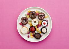 Doughnuts and jellybeans - stock photo