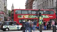 Stock Video Footage of People Walk Crowd Taxi Traffic City Trafalgar Square London Palace Rush Hour