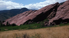 Pan of Red Rocks park and amphitheatre Morrison, Colorado Stock Footage