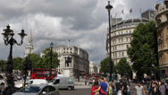 Trafalgar Square Charing Cross City Westminster London Car Taxi Cab Passing UK Stock Footage