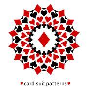 Diamond card suit snowflake - stock illustration