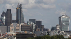 Above Aerial View City London Skyscrapers, Fenchurch, Walkie-Talkie, Gherkin Stock Footage