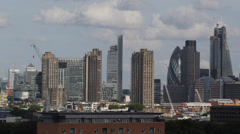 Aerial View City London Skyscrapers, Skyline Canary Wharf Gherkin 30 st Mary Axe - stock footage