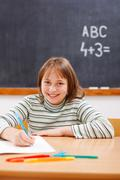 elementary school girl practicing - stock photo