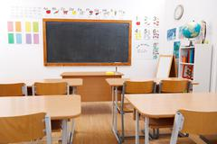 Empty class room of elementary school Stock Photos