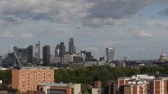 Stock Video Footage of Aerial View London City Skyline Gherkin Leadenhall Heron Fenchurch Walkie-Talkie