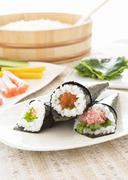 Hand-rolled sushi Stock Photos
