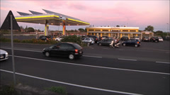 Gas station timelapse, day to night transition Stock Footage