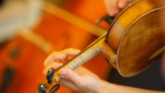 Violin in the orchestra Stock Footage