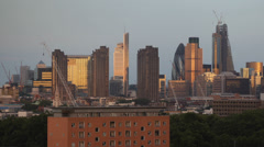 Golden Sunset Panoramic Aerial View City London Skyscrapers Skyline Canary Wharf - stock footage