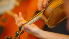 Orchestra: cello, double bass, violin. 2 shot. Stock Footage