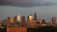 Golden Sunset Aerial View City London Skyscrapers, Skyline Canary Wharf Gherkin Stock Footage