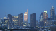 Blue Dusk Aerial View Central London Skyscrapers Canary Wharf One Blackfriars - stock footage