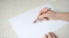 The child draws. Stock Footage