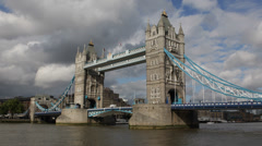 British Symbol Tower Bridge London England UK United Kingdom Thames River Cloudy Stock Footage