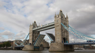 Tower Bridge raised open up lifted, erected, London UK Thames River Ship Passing Stock Footage