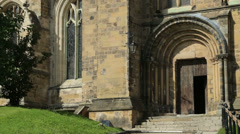 Ripon cathedral side door, north yorkshire, england Stock Footage