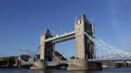Famous English Drawbridge Landmark Tower Bridge London Skyline England Crossing Stock Footage