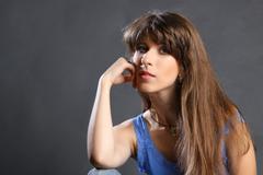 young brunette woman beauty portrait studio shot - stock photo