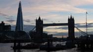 Famous Tower Bridge, Shard Skyscraper Silhouette London England UK Thames Stock Footage