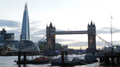 City Hall, Tower Bridge, London England UK United Kingdom Thames River, Shard - stock footage