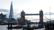 City Hall, Tower Bridge, London England UK United Kingdom Thames River, Shard Stock Footage