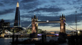Illuminated Night Famous Landmark Tower Bridge London Skyline Shard Skyscraper HD Footage
