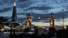 Illuminated Night Famous Landmark Tower Bridge London Skyline Shard Skyscraper - stock footage